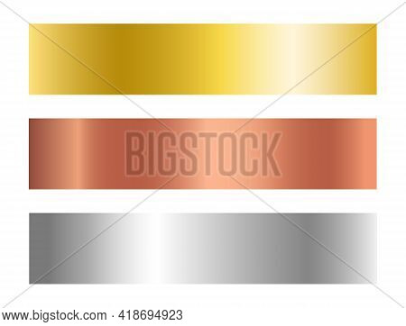 Metal Texture Set. Gold, Silver, Bronze Material Collection. Steel, Copper, Brass, Iron, Aluminium,