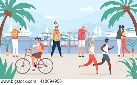 People Walk On Sea Quay. Family And Couple Tourist At Vacation Look At Sail Boats. Seaside Summer Tr