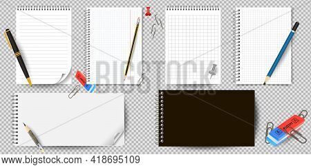 Realistic White Lined Notepad And Pencil Sheet Isolated On White Background Vector Illustration. Not