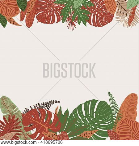 Tropics Leaves Vector Beige Modern. Color Green, Trend Ornament