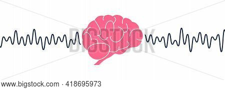 Human Brain Waves. Brain Activity Wave Concept. Pink Mind With Mental Wave. Isolated White Backgroun