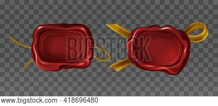 Vector Realistic Red Wax Seal Stamps With Golden Rope And Ribbon. Vintage Seals Of Rectangular Shape