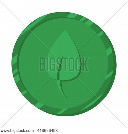 Chia Coin. Chia Cryptocurrency, Which Is Mined On A Hard Disk Or Ssd Disk. Green Coin With A Leaf Sy
