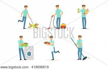 Happy Man Sweeping The Floor, Walking The Dog, Baking Pie And Nursing Baby Vector Set