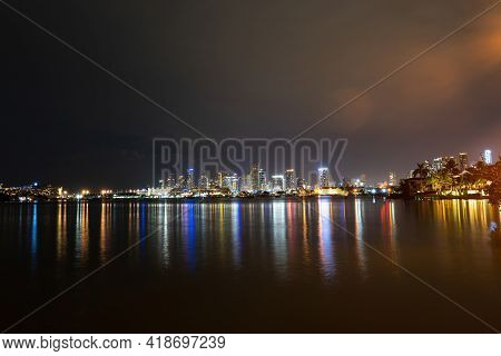 Panoramic View Of Miami At Sunset, Night Downtown. Miami Night Downtown, City Florida.