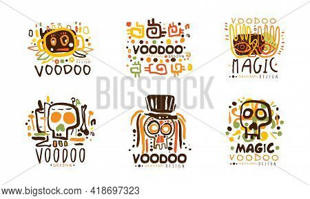 Voodoo Original Logo Design With Indigenous Symbols Vector Set