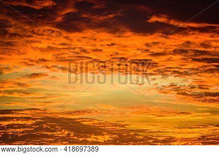 Sky Sunset. Beauty Cloudy Sunrise. Cloudscape Evening.