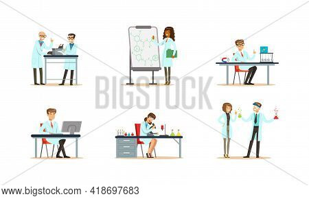 Biologists, Chemists And Physicists Engaged In Science Research And Experiment Vector Set