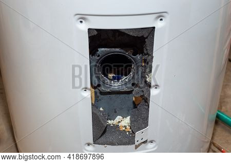 Dismantling, Repair And Maintenance Of An Electric Boiler. Disassembled Compartment Of The Heater Co