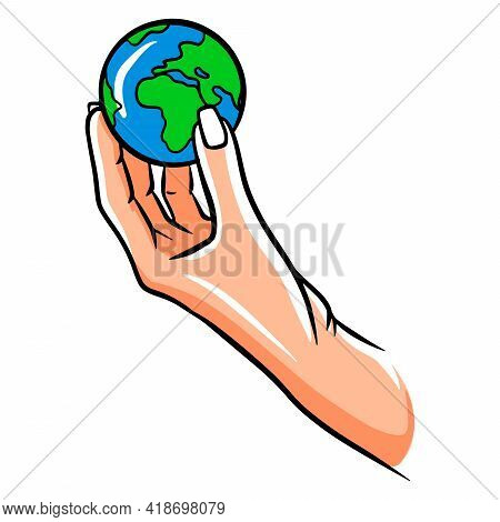 Let's Protect The Planet. Let's Save The Planet. Planet In Hand. Ecology. Cartoon Style.