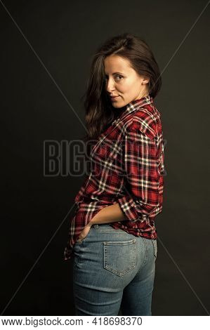 Simple Casual Clothes. Feeling Comfortable. She Prefers Casual Style. Country Style. Woman Checkered
