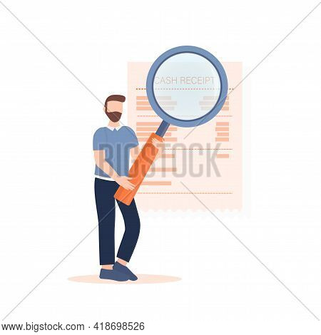 Man Looking Through Magnifying Glass At Bill, Check Or Invoice. Concept Of Auditing Service For Busi