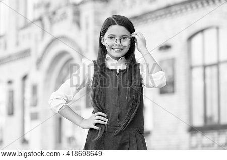 Happy Kid Wear Glasses And Formal Uniform Dress On September 1, School Education