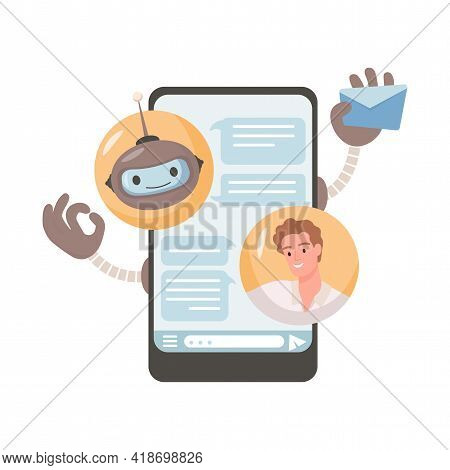 Online Robotic Assistance Vector Flat Illustration. Young Man Chatting With Robot In Mobile Applicat