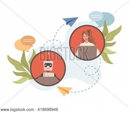 Young Smiling Woman Chatting With Robot Vector Flat Illustration. Robotic Assistant, Support Service