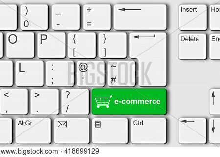 E-commerce Concept Pc Computer Keyboard 3d Illustration