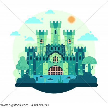Military Fort Stands On The Lake - Vector Illustration In Flat Cartoon Stile