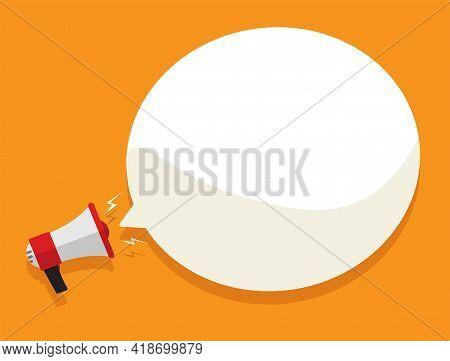 Loud Megaphone Message Template With Blank Empty Bubble Speech Announcement Vector Flat Cartoon Illu