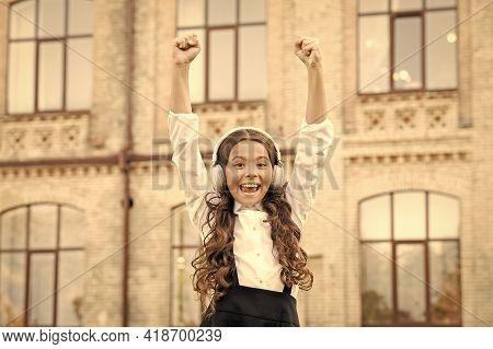 Best Day Ever. Dream To Be A Singer. Child Has Music Break. Girl In Headphones. Happy Little Girl We