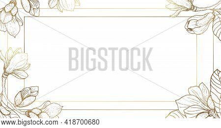 Plants Line Gold. Luxurious Golden Nature. White Background. Flowers In A Thin Line. Light Pastel Co