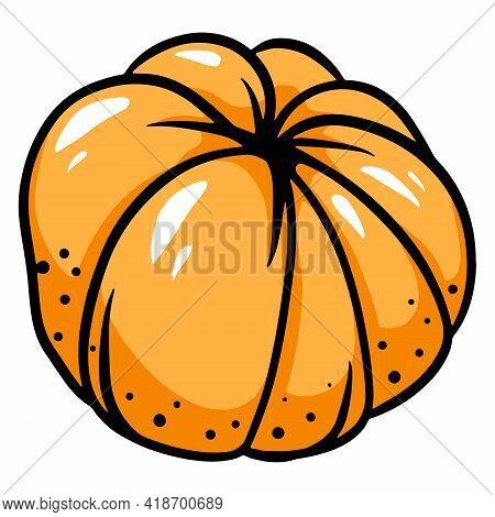Mandarin. Peeled Tangerine. Tangerine Without Peel. Citrus Fruits. Vitamin C. Cartoon Style.
