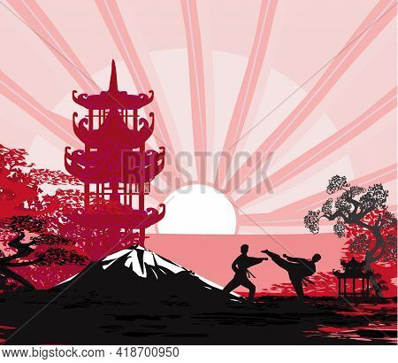 Active Tae Kwon Do Martial Arts Fighters Combat Fighting And Kicking Sport Silhouettes  , Vector Ill