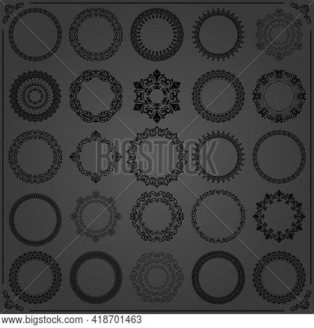 Vintage Set Of Round Black Elements. Different Elements For Design Frames, Cards, Menus, Backgrounds