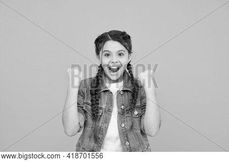 Feel Great, Smile Great. Happy Girl Celebrate Win. Little Winner Make Winning Gesture. Dental Hygien