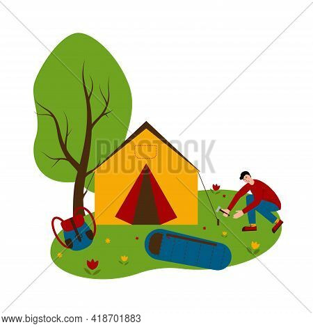 Tourist Weekends. The Man Is Pitching The Tent. Camping. Summer Camping For Family And Tourists. Vec