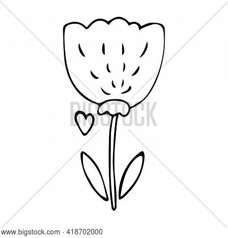 Flower Doodle - Simple Childish Naive Hand Drawn Floral Icon. Black Ink Flower With Leaves Line Art