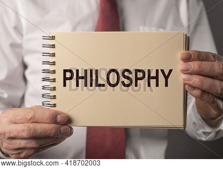 Word Philosophy On Paper. Concept Of Life And Thinking.