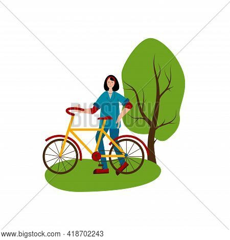 Young Woman Is Going To Ride A Bike. Hobby. Bicycle For Travel. Flat Style Vector Illustration Isola