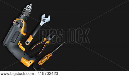 Orange Tools Professional Realistic On Black Background. Electric Drill, Adjustable Wrench, Screwdri