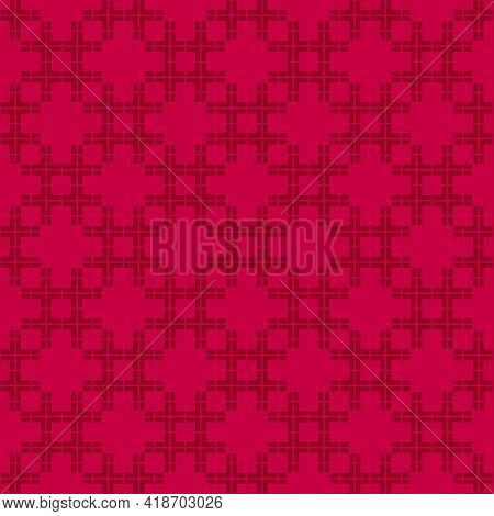 Vector Abstract Geometric Seamless Pattern. Red Texture With Squares, Grid, Net, Mesh, Lattice. Styl