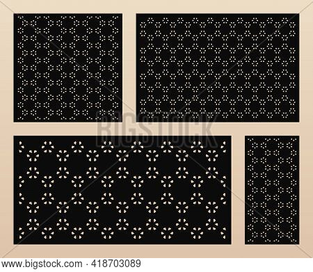 Laser Cut Panels Collection. Vector Abstract Geometric Pattern With Flower Shapes, Hexagon Grid, Mes