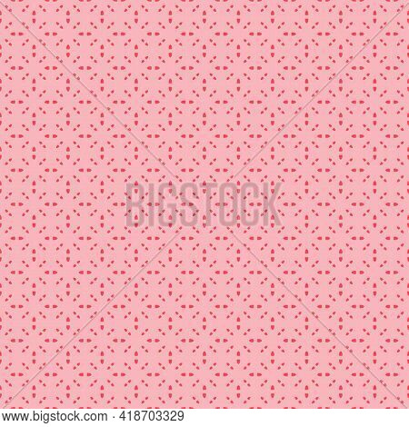 Subtle Vector Minimal Seamless Pattern. Minimalist Geometric Ornament, Abstract Background. Pink Col