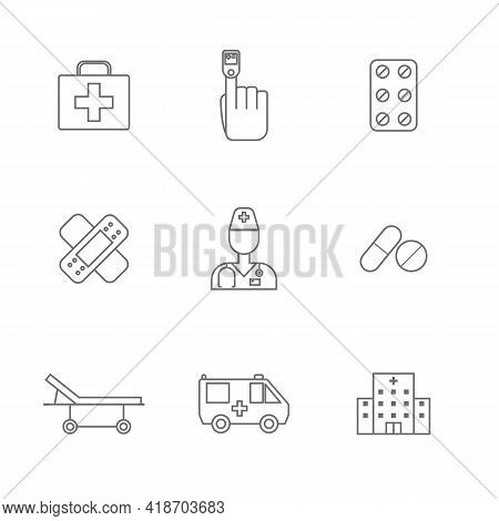 Set Of Simple Medical Icon In Trendy Line Style Isolated On White Background For Web Apps And Mobile