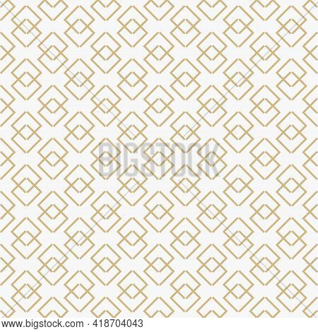 Golden Vector Abstract Geometric Pattern With Linear Shapes, Rhombuses, Diamonds. Stylish Minimal Go