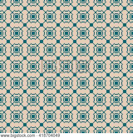 Vector Geometric Traditional Folk Ornament. Ethnic Seamless Pattern. Ornamental Background With Smal