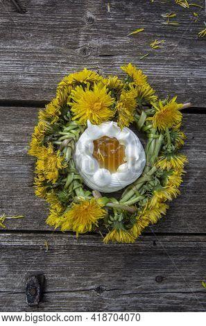 Anna Pavlova Cake With Lemon Curd And Dandelion Syrup
