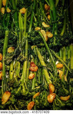 Sauteed Broccoli Rabe With Sweet Garlic At Buffet