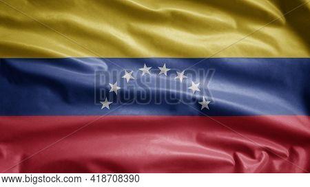 Venezuelan Flag Waving On Wind. Venezuela Banner Blowing Soft Silk.