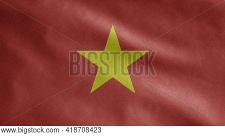 Vietnamese Flag Waving In The Wind. Venezuela Banner Blowing Soft Silk.