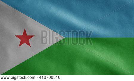 Djiboutian Flag Waving In The Wind. Djibouti Banner Blowing Soft Silk.