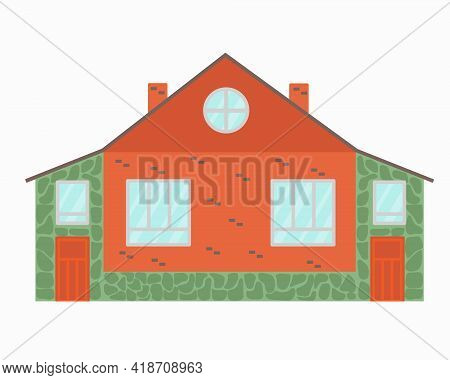 Modern House For Two Family Vector Illustration.