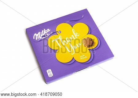 Belarus, Novopolotsk - 28 April, 2021: Milka Box Of Chocolates Isolted On White Background