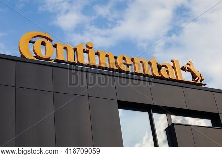 Poland, Poznan - April 27, 2021: Continental Company Lettering - Company Logo.