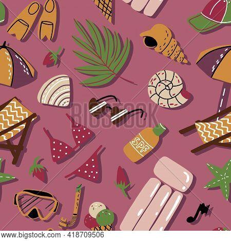 Summer Beach Vacation Seamless Pattern In Earthy Colors. Shells, Bikini, Air Mattress, Sunshades, Sc