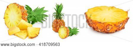 Pineapple Half And Slices Isolated On White Background With Full Depth Of Field, Set Or Collection