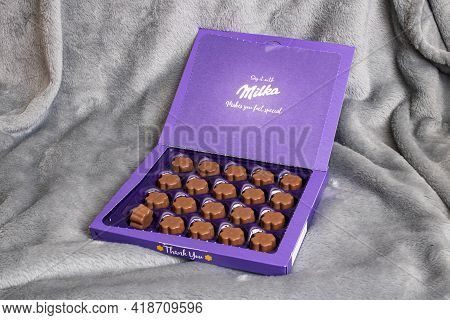 Belarus, Novopolotsk - 28 April, 2021: Milka Box Of Chocolates Close Up